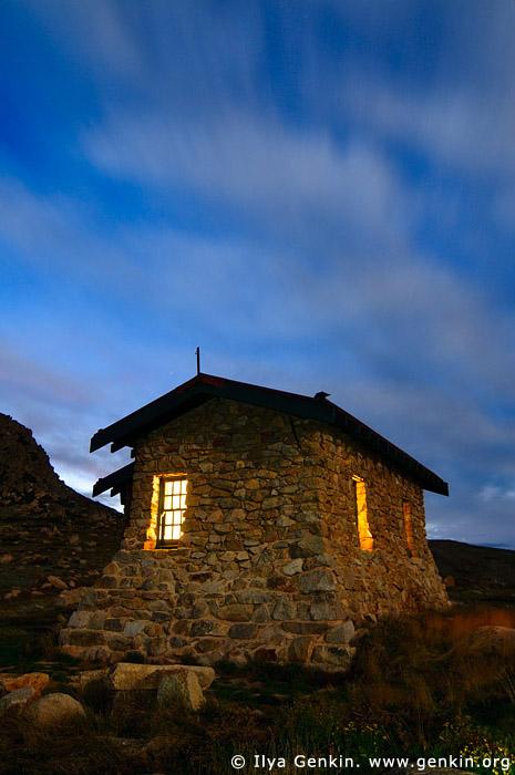 landscapes stock photography | Seaman's Hut at Night, Kosciusko National Park, Snowy Mountains, NSW, Australia, Image ID AU-KOSCIUSKO-0001
