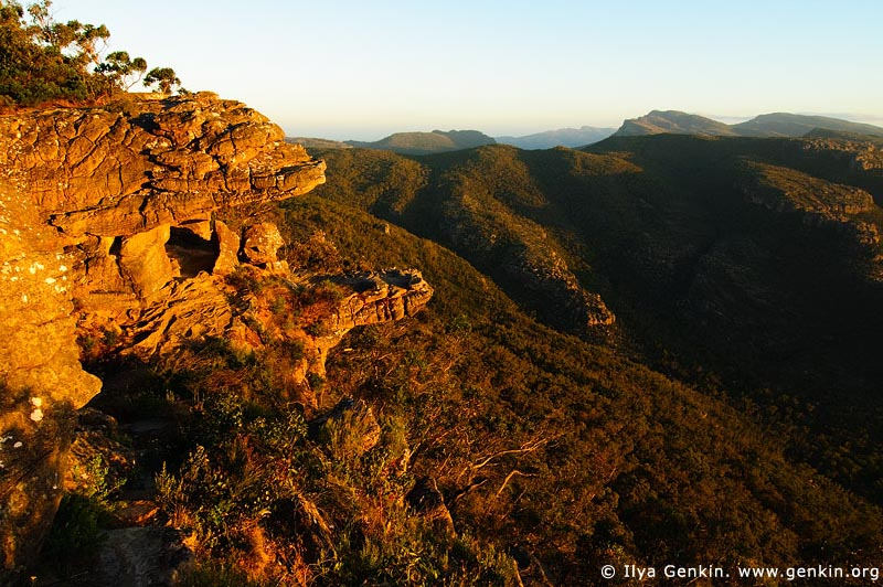 landscapes stock photography | Sunset at the Balconies, Reed Lookout, Formerly known as the 'Jaws of Death', Grampians National Park (Gariwerd), Victoria, Australia, Image ID GRAMP-0005