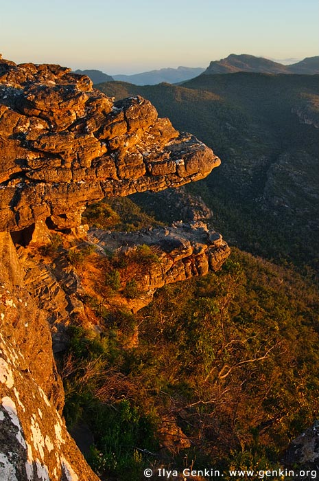 landscapes stock photography | Sunset at the Balconies, Reed Lookout, Formerly known as the 'Jaws of Death', Grampians National Park (Gariwerd), Victoria, Australia, Image ID GRAMP-0006