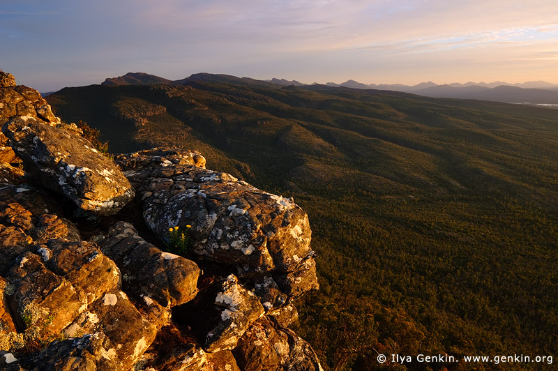 landscapes stock photography | Sunset at the Reed Lookout, The Grampians National Park (Gariwerd), Victoria, Australia, Image ID GRAMPIANS-0010