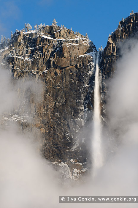landscapes stock photography | Upper Yosemite Falls in Clouds, Yosemite National Park, California, USA