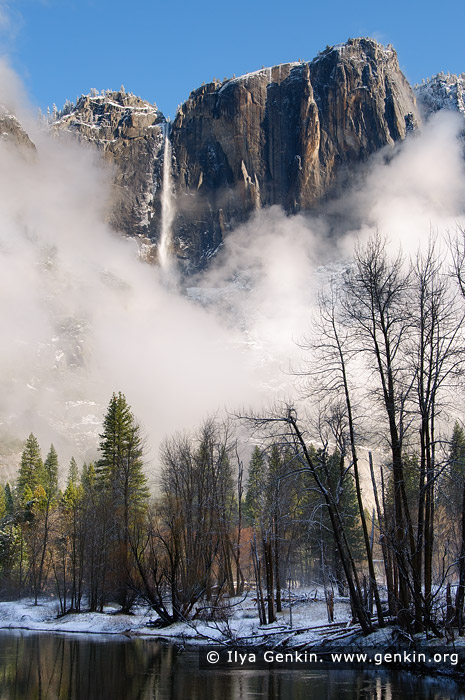 landscapes stock photography | Upper Yosemite Falls and Merced River After a Spring Snow Storm, Yosemite Valley, Yosemite National Park, California, USA, Image ID YOSEMITE-NATIONAL-PARK-CALIFORNIA-USA-0005