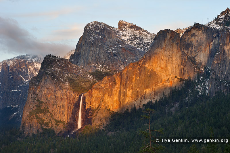 landscapes stock photography | Bridalveil Falls from Tunnel View, Yosemite National Park, California, USA, Image ID YOSEMITE-NATIONAL-PARK-CALIFORNIA-USA-0006