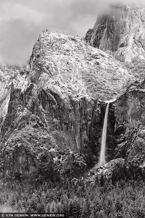landscapes stock photography | Bridalveil Falls from Tunnel View, Yosemite National Park, California, USA
