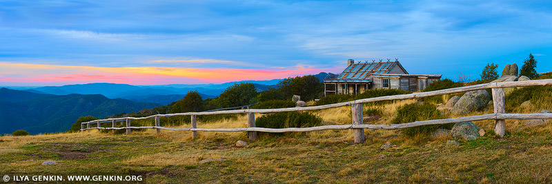 landscapes stock photography | Craig's Hut at Sunset, Alpine National Park, Mansfield, Victoria, Australia, Image ID AU-MANSFIELD-CRAIGS-HUT-0001