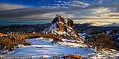 landscapes stock photography | The Cathedral at Sunrise, Mount Buffalo National Park, Australian Alps, VIC, Australia, Image ID AU-MOUNT-BUFFALO-0001. Starting at the Cathedral Picnic Area, a relatively short and medium grade track (2 km, 45 minutes return) leads past the spectacular Cathedral and on to the Hump summit for fine views of Cresta Valley and the Horn. This shot of The Cathedral Rock and was taken at the 'saddle' between the Cathedral and the Hump. The Cathedral Rock is especially beautiful in winter on sunrise or sunset.