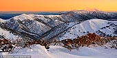 landscapes stock photography | Mt Feathertop and The Razorback in Winter, Mount Hotham, Alpine National Park, Victoria, Australia, Image ID AU-MOUNT-HOTHAM-0002. Snow covered Mt Feathertop and The Razorback from Hotham Heights early in the morning. Described as 'Queen of the Victorian Alps' Mount Feathertop (1922m) has been the region's most popular alpine hiking destination for well over 100 years. In 1854, on the heels of the miners, Government Botanist Ferdinand von Mueller ascended Mt Feathertop. After von Mueller, the Bright Alpine Club formalised the destination with a winter ascent in 1889. The second highest peak in Victoria (after Mt Bogong), this track provides walkers with the most spectacular views in the State.