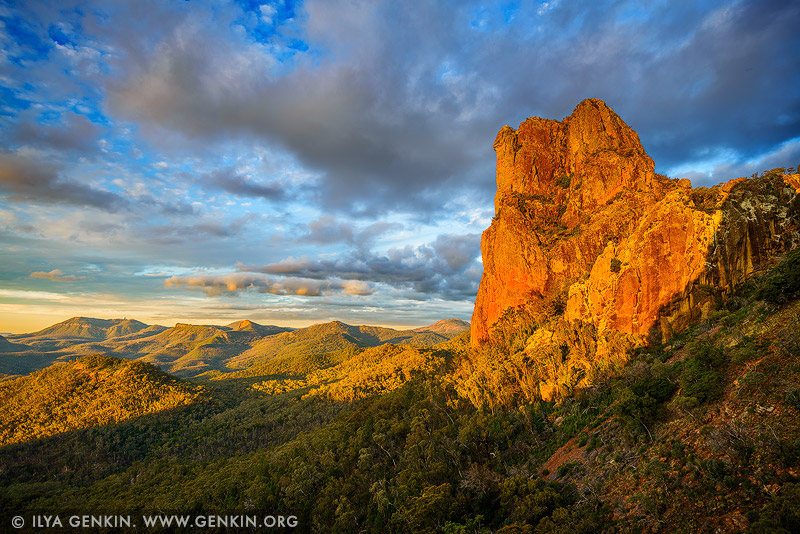 landscapes stock photography | Belougery Spire at Sunset, Warrumbungle National Park, New South Wales (NSW), Australia, Image ID AU-WARRUMBUNGLES-0002