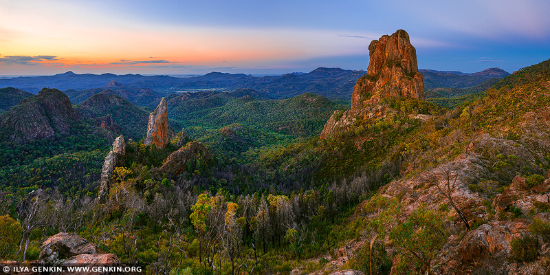 landscapes stock photography | The Breadknife and Belougery Spire after Sunset, Warrumbungle National Park, New South Wales (NSW), Australia, Image ID AU-WARRUMBUNGLES-0003