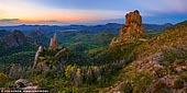 landscapes stock photography | The Breadknife and Belougery Spire after Sunset, Warrumbungle National Park, New South Wales (NSW), Australia. Shaped by an ancient volcano that has eroded over millions of years, the distinctively rugged landscape and rich biodiversity of the Warrumbungle National Park provides important habitat for a range of native Australian flora and fauna. Located near Coonabarabran in central NSW it is often described as a place where east meets west, where the moist, vibrantly green landscape gradually merges into the dry plains of western NSW. The beauty and sculptural forms of the Warrumbungle landscape were noted by early European explorers. In 1818, Surveyor-General Oxley said on encountering the landscape for the first time: 'To the west the land was level, but to the east a most stupendous range of mountains, lifting their blue heads above the horizon, bounded the view in that direction, and were distant at least seventy miles, the country appearing a perfect plain between us and them.'