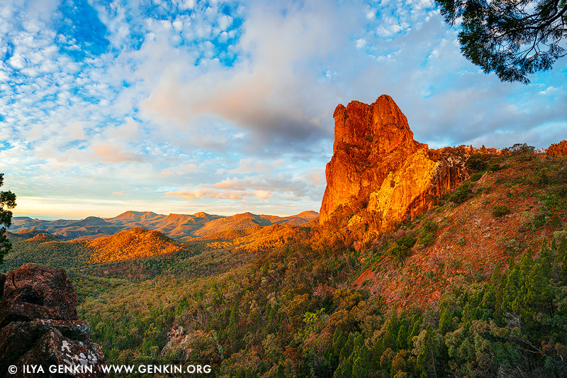 landscapes stock photography | Belougery Spire at Sunset, Warrumbungle National Park, New South Wales (NSW), Australia, Image ID AU-WARRUMBUNGLES-0005