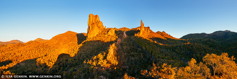 landscapes stock photography | The Breadknife and Belougery Spire Panorama at Sunset, Warrumbungle National Park, New South Wales (NSW), Australia, , Image ID AU-WARRUMBUNGLES-0006