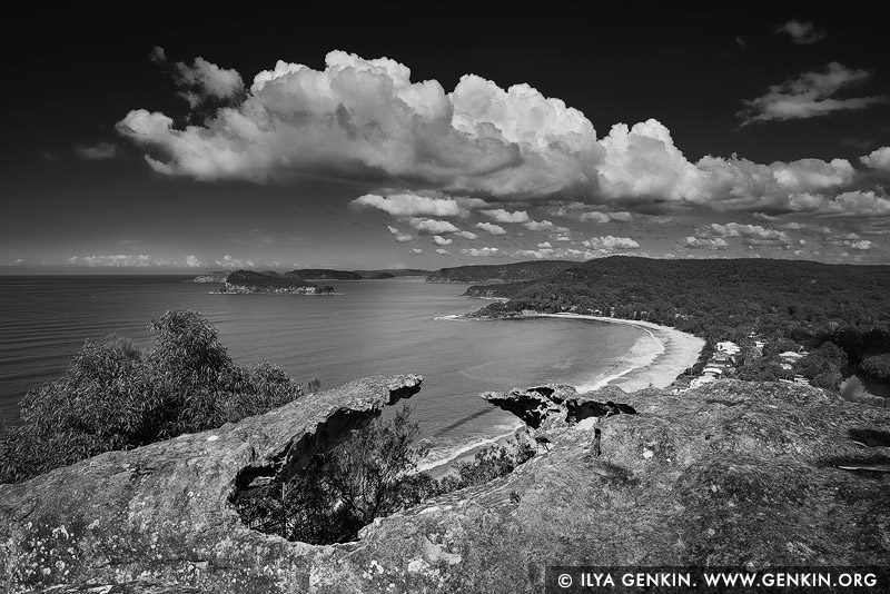 landscapes stock photography | Pearl Beach from Mt Ettalong Lookout, Central Coast, NSW, Australia, Image ID AU-MT-ETTALONG-LOOKOUT-0001