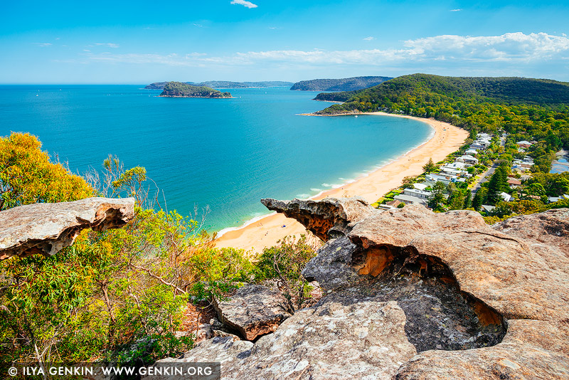 landscapes stock photography | Pearl Beach from Mt Ettalong Lookout, Central Coast, NSW, Australia, Image ID AU-MT-ETTALONG-LOOKOUT-0002