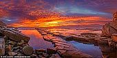 landscapes stock photography | Vivid Sunrise at Terrigal, Central Coast, New South Wales (NSW), Australia, Image ID AU-TERRIGAL-0002. Panoramic view of one of the extraordinary sunrises on Australian East Coast. A vivid sunrise lights the morning sky above Terrigal on NSW Central Coast right next to the Skillion cliff. This breathtaking scenery is just one of the elements that attracts visitors and tourists to this area of NSW for holidays and vacations. Watching a sunrise can be a peaceful and self-reflecting experience. Many couples like to watch sunrises together as they are often considered a romantic occurrence and have a magical element to them. Depending on the temperature that day and the clouds in the sky, a sunrise can truly light up the sky with brilliant colours. This sunset has turned the sky shades of reds, yellows, oranges, pinks and purples.