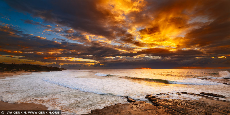 landscapes stock photography | Stormy Sunrise at Norah Head, Central Coast, Soldiers Point, NSW, Australia, Image ID NORAH-HEAD-0001