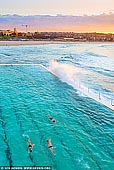 landscapes stock photography | Bondi Beach Icebergs at Sunrise, Sydney, NSW, Australia, Image ID AU-BONDI-BEACH-0002. Bondi Iceberg is a landmark of Bondi Beach for over 100 years. It is a popular rock swimming pool with restaurant and bar facilities upstairs that look over the entire beach. It is named for the brave swimmers who compete here in the winter months. You can enjoy some laps in the 50 metre Olympic pool or take the kids in the smaller kid's pool. Fully qualified lifeguards patrol the pools during opening hours. This is a a true Ocean Pool.