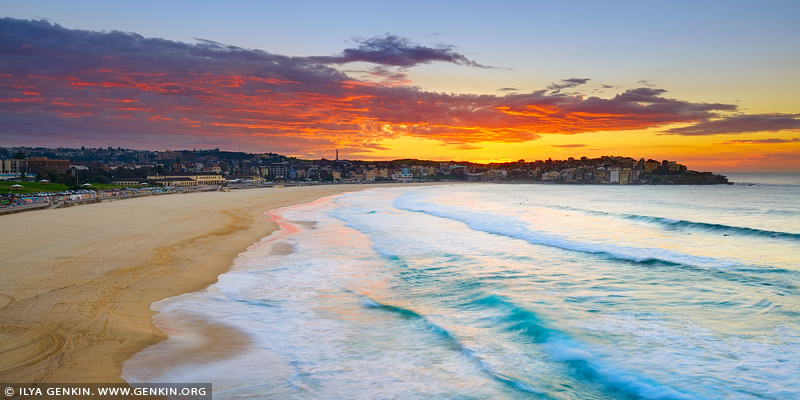 landscapes stock photography | Amazing Sunrise Above Bondi Beach, Sydney, NSW, Australia, Image ID AU-BONDI-BEACH-0001