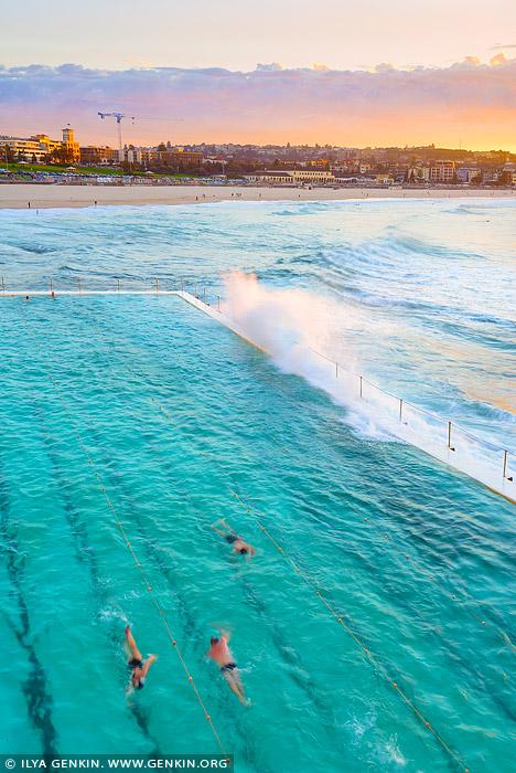 landscapes stock photography | Bondi Beach Icebergs at Sunrise, Sydney, NSW, Australia, Image ID AU-BONDI-BEACH-0002