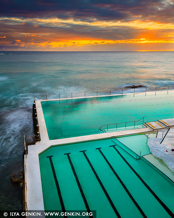 landscapes stock photography | Sunrise at Bondi Icebergs, Bondi Beach, Sydney, NSW, Australia