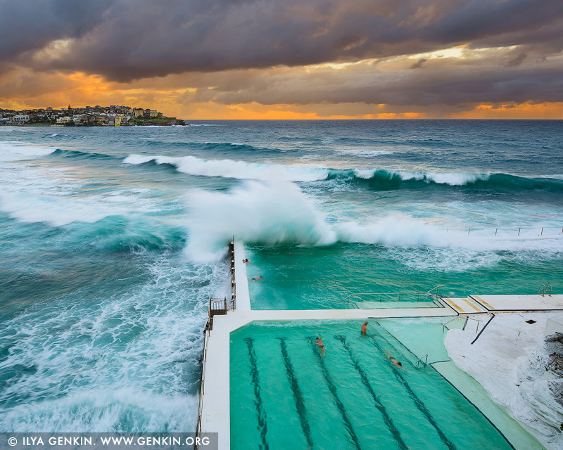 landscapes stock photography | Waves Crushing at Bondi Icebergs, Bondi Beach, Sydney, NSW, Australia, Image ID AU-BONDI-BEACH-0006