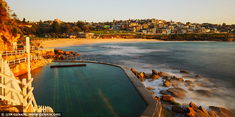 landscapes stock photography | Bronte Swimming Pool at Sunrise, Bronte Beach, Sydney, NSW, Australia