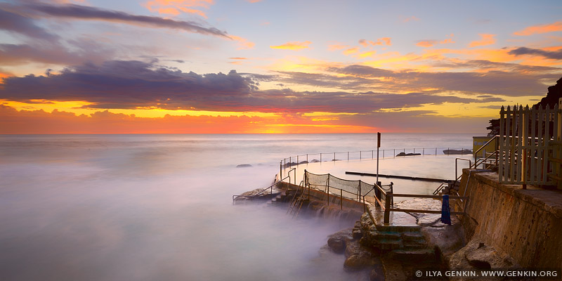 Beautiful Sunrise at Bronte Baths, Bronte Beach, Sydney, NSW, Australia