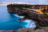 landscapes stock photography | The Gap at Twilight, Watsons Bay, Sydney, NSW, Australia, Image ID AU-SYDNEY-THE-GAP-0001. The Gap is a spectacular ocean cliff, in eastern Sydney, in the state of New South Wales, Australia. It is located in the eastern suburb of Watsons Bay, in the Municipality of Woollahra, near South Head. The Gap is famous not so much for its natural scenic beauty, but because it is the most well known suicide hotspot in Australia with a reported 20-50 suicides annually.