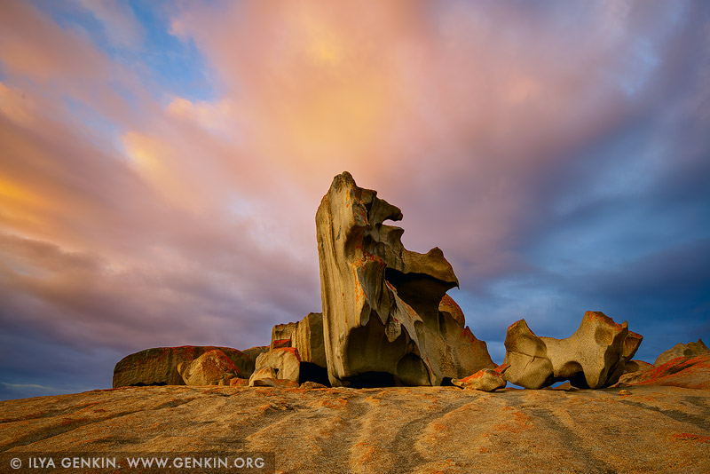 landscapes stock photography | The Remarkable Rocks at Sunrise, Flinders Chase National Park, Kangaroo Island, SA, Australia, Image ID KI-REMARKABLE-ROCKS-0001