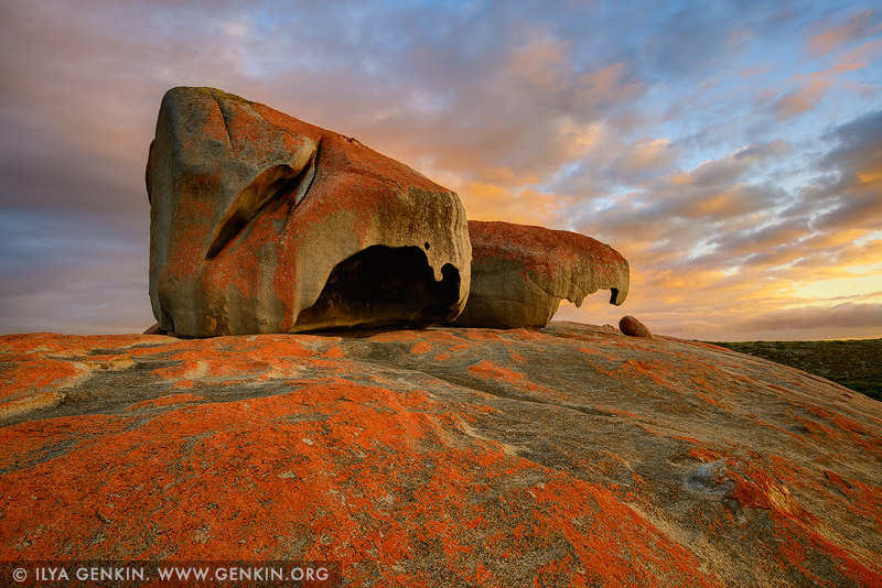 landscapes stock photography | Vivid Sunrise at The Remarkable Rocks, Flinders Chase National Park, Kangaroo Island, SA, Australia, Image ID KI-REMARKABLE-ROCKS-0002