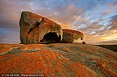 landscapes stock photography | Vivid Sunrise at The Remarkable Rocks, Flinders Chase National Park, Kangaroo Island, SA, Australia, Image ID KI-REMARKABLE-ROCKS-0002. The Remarkable Rocks in the Flinders Chase National Park on Kangaroo Island, SA, Australia have been weathered into strange and unique shapes - many visitors enjoy picking out familiar objects in the formations, such as giant chairs and hooks. Enhancing their beauty are the colours in the granite uncovered as the rocks are worn down - blues, blacks and pinks play across the surface of the rocks.