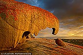 landscapes stock photography   The Remarkable Rocks at Dawn, Flinders Chase National Park, Kangaroo Island, SA, Australia, Image ID KI-REMARKABLE-ROCKS-0005. The Remarkable Rocks are one of the best known icons of Kangaroo Island in Australia. Perched 200 feet above the crashing sea, in the Flinders Chase National Park, over on the western side of Kangaroo Island, the 'Remarkable Rocks' are a collection of enormous eroded granite boulders sitting atop a giant dome of lava, that has been shaped by the erosive forces of wind, sea spray and rain over some 500 million years. The golden orange lichen covering some of the rocks and the many different shapes offers tourists plenty photo opportunities at different times of the day.