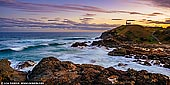 landscapes stock photography | Tacking Point Lighthouse at Sunset, Port Macquarie, Mid North Coast, NSW, Australia, Image ID AU-PORT-MACQUARIE-0002. This little lighthouse (1879) commands a headland offering immense views along the coast. It's a great spot from which to watch the waves rolling in to long, beautiful Lighthouse Beach. It resides in Port Macquarie, a very nice coastal town in northern New South Wales. Built in 1879 its Australia's third oldest lighthouse, though at only 8 metres high, it's far from being tall. Over 20 ships were wrecked before the lighthouse was established, the first going down in 1823.