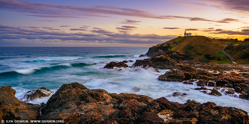 landscapes stock photography | Tacking Point Lighthouse at Sunset, Port Macquarie, Mid North Coast, NSW, Australia, Image ID AU-PORT-MACQUARIE-0002
