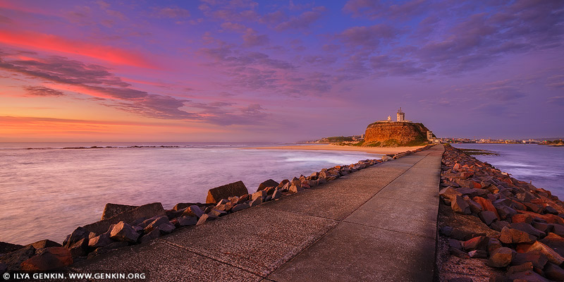 landscapes stock photography | Nobbys Lighthouse at Sunrise, Newcastle, NSW, Australia, Image ID AU-NOBBYS-LIGHTHOUSE-0001