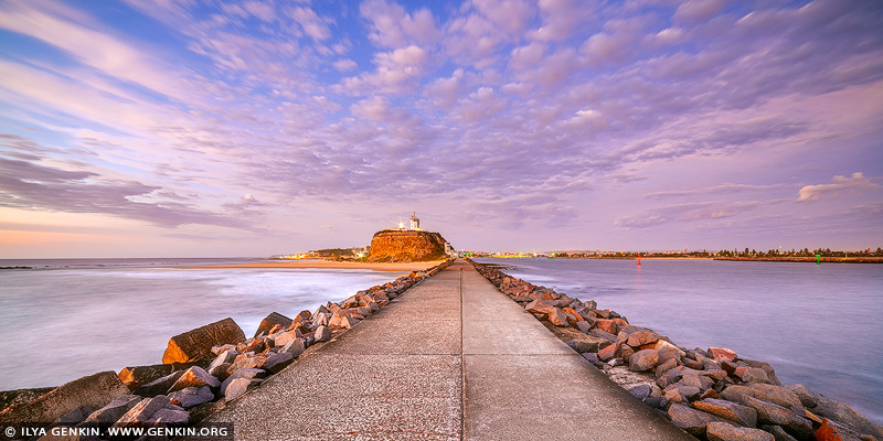 landscapes stock photography | Nobbys Lighthouse at Sunrise, Newcastle, NSW, Australia, Image ID AU-NOBBYS-LIGHTHOUSE-0002