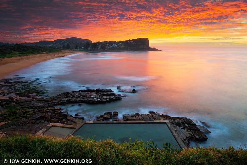 landscapes stock photography | Fiery Sunrise at Avalon Beach, Sydney, NSW, Australia, Image ID AU-AVALON-BEACH-0001