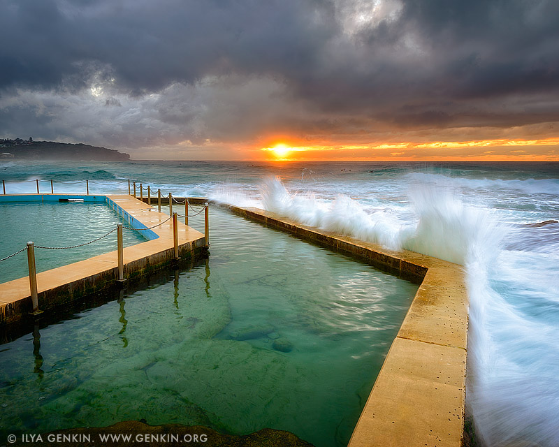 landscapes stock photography | Sunrise at South Curl Curl Tidal Pool, Sydney, NSW, Australia, Image ID AU-CURL-CURL-0009