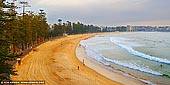 landscapes stock photography | Manly Beach at Sunrise, Manly, Sydney, NSW, Australia, Image ID AU-MANLY-BEACH-0005. First rays of the Sun highlighted the Manly Beach on Sydney's Northern Beaches in Australia and making the scene warm and cosy.
