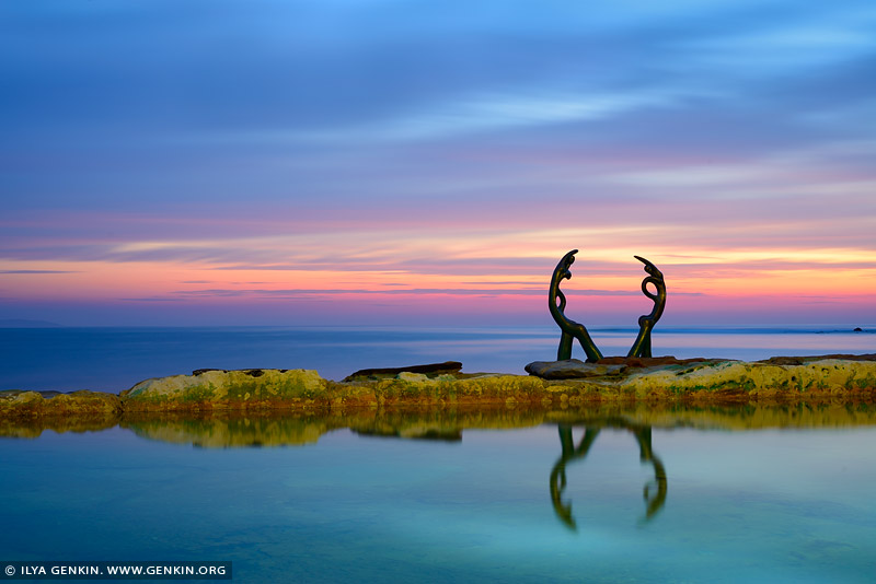 landscapes stock photography | Manly's Fairy Bower (Cabbage Tree Bay) pool with sculpture at Sunrise, Manly, Sydney, New South Wales, Australia, Image ID AU-MANLY-BEACH-0006