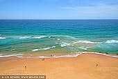 landscapes stock photography | Mona Vale Beach and Pacific Ocean, Sydney, NSW, Australia, Image ID AU-MONA-VALE-0008. Beautiful minimalistic photo of the Mona Vale beach, the Pacific Ocean and swimmers in the emerald waters on a bright Summer day.