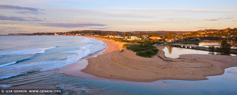 landscapes stock photography | Sunrise Over Narrabeen Beach and Lagoon, Narrabeen Beach, Sydney, NSW, Australia, Image ID AU-NARRABEEN-0010
