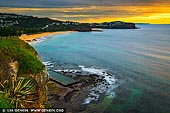 landscapes stock photography | Vivid Sunrise at Newport Beach, Sydney, NSW, Australia, Image ID AU-NEWPORT-BEACH-0002. The view of the Newport Beach and headland looking North on a cloudy but beautiful morning.