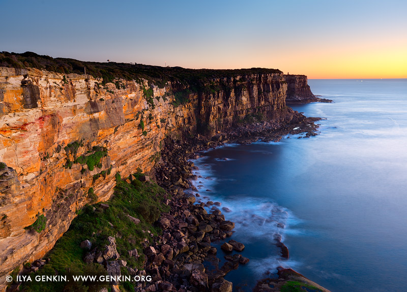 landscapes stock photography | North Head Cliffs at Sunrise, Sydney Harbour National Park, Sydney, NSW, Australia, Image ID AU-NORTH-HEAD-0002