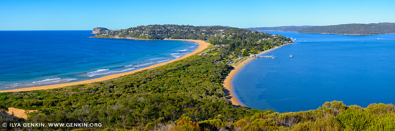 landscapes stock photography | Panoramic View from Barrenjoey Lookout, Palm Beach, Sydney, NSW, Australia, Image ID PALM-BEACH-BARRENJOEY-0006