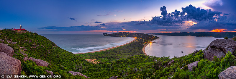 landscapes stock photography | Stormy Sunset at Palm Beach, Panoramic View from Barrenjoey Lookout, Sydney, NSW, Australia, Image ID PALM-BEACH-BARRENJOEY-0011