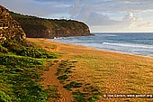 landscapes stock photography | Calm morning at Turimetta Beach, Turimetta Beach, Sydney, NSW, Australia, Image ID TURIMETTA-BEACH-0015. Turimetta Beach is a quiet beach in Sydney's Northern Beaches. It is 350 metres long and is backed by steep bluffs. Turimetta Beach is a popular surfers' beach. Swimming can be hazardous because of rips that usually form at the centre and both ends of the beach. The beach is not patrolled by lifeguards.