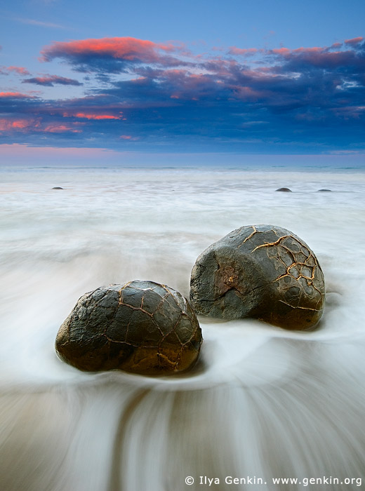 landscapes stock photography | Moeraki Boulders at Sunset, Otago, South Island, New Zealand, Image ID NZ-MOERAKI-BOULDERS-0001