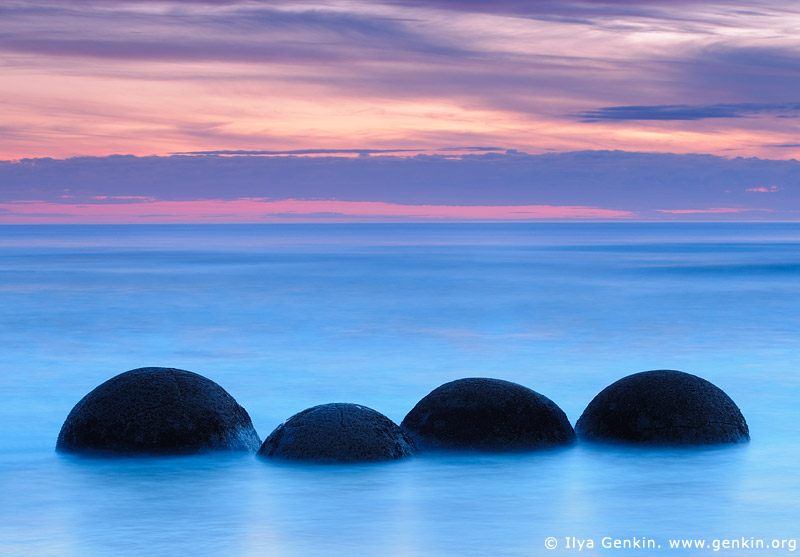 landscapes stock photography | Moeraki Boulders at Dawn, Otago, South Island, New Zealand, Image ID NZ-MOERAKI-BOULDERS-0002