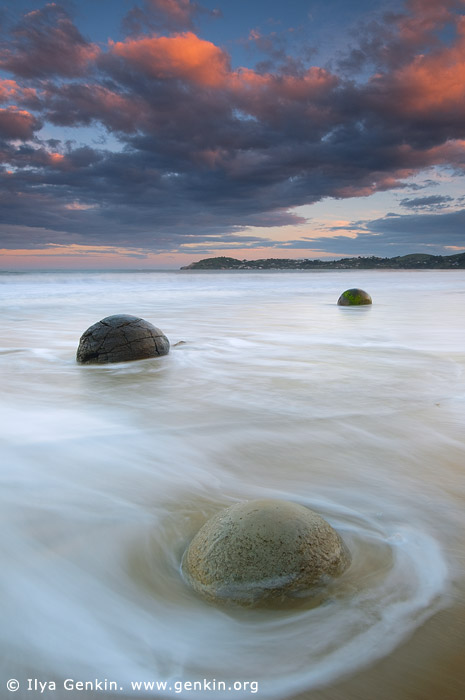 landscapes stock photography | Moeraki Boulders at Dusk, Otago, South Island, New Zealand, Image ID NZ-MOERAKI-BOULDERS-0007